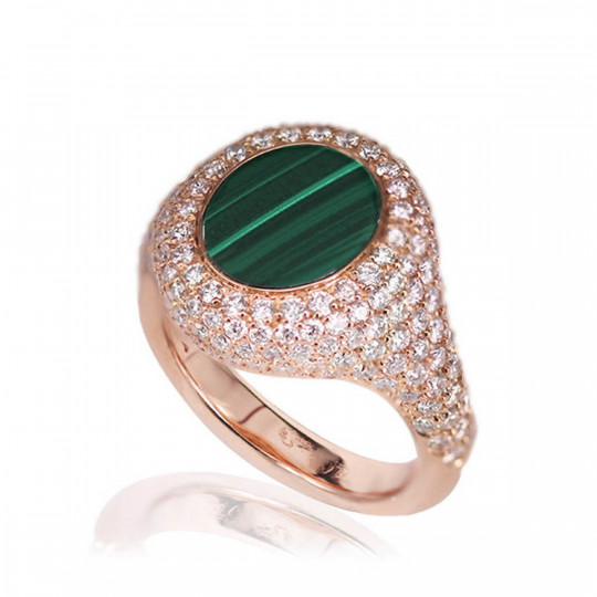 DIAMOND RING WITH MALACHITE