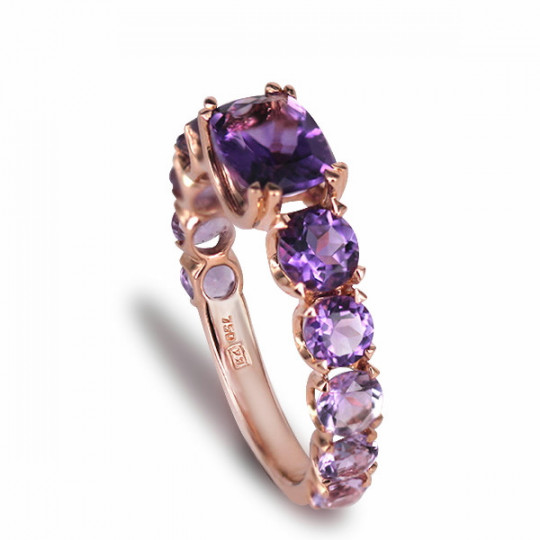 TWO-TONE AMETHYST RING