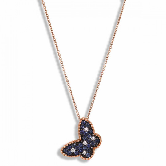 SAPPHIRE BUTTERFLY PENDANT WITH DIAMONDS