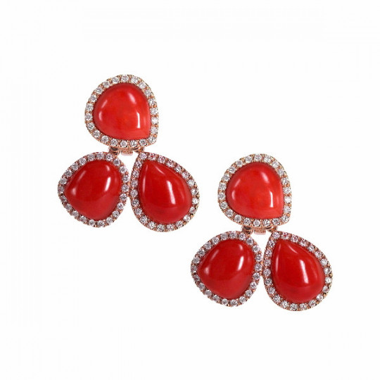 CORAL EARRINGS WITH DIAMONDS