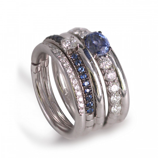 FIVE-RING RING SET WITH DIAMONDS AND SAPPHIRES