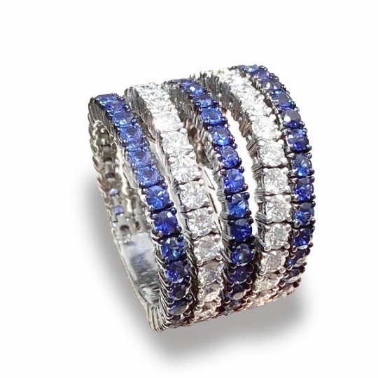FIVE-ROW DIAMOND AND SAPPHIRE RING