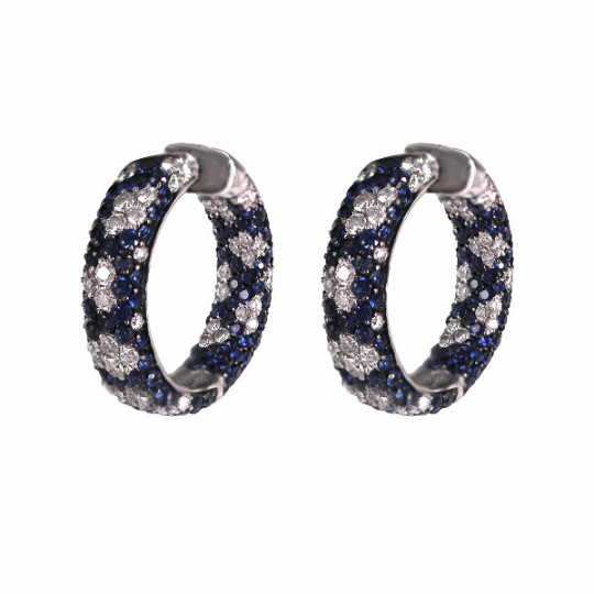 HOOP EARRINGS WITH DIAMONDS AND SAPPHIRES