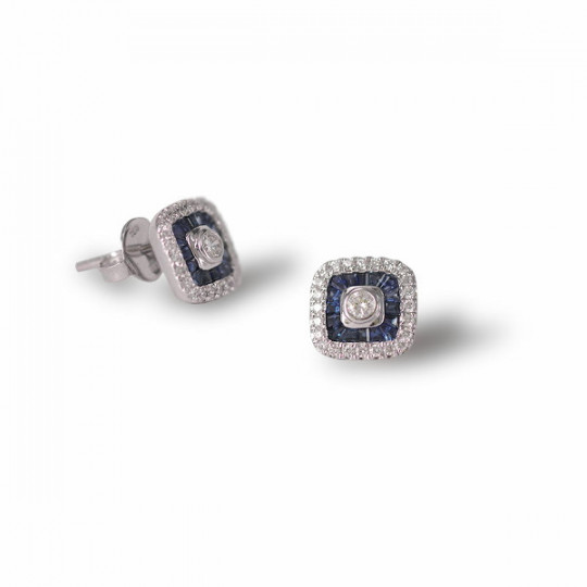 SQUARE EARRINGS WITH DIAMONDS AND SAPPHIRES