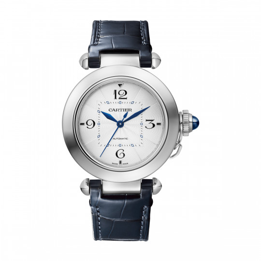 PASHA DE CARTIER WATCH WSPA0013 35 MM, STEEL, METAL BRACELET AND LEATHER STRAP