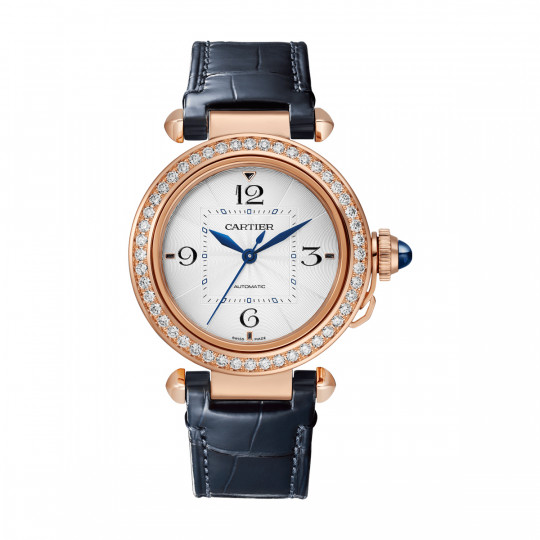 PASHA DE CARTIER WATCH WJPA0012 35 MM, ROSE GOLD, DIAMONDS, 2 LEATHER STRAPS