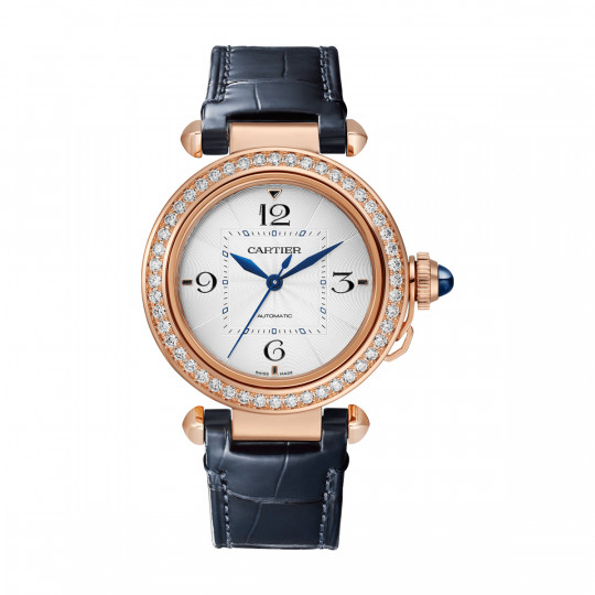 PASHA DE CARTIER WATCH WJPA0013 35 MM, ROSE GOLD, DIAMONDS, INTERCHANGEABLE METAL AND LEATHER STRAPS
