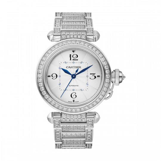 PASHA DE CARTIER WATCH WJPA0014 35 MM, RHODIUM-FINISHED WHITE GOLD, DIAMONDS