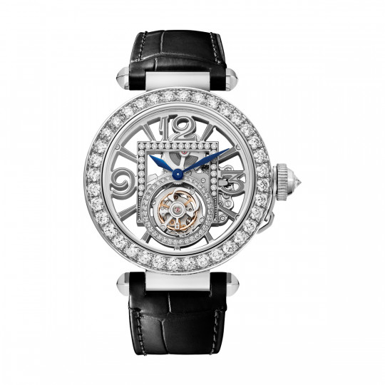 RELOJ PASHA DE CARTIER HPI01435 41 MM, ORO BLANCO, DIAMANTES, 2 CORREAS DE PIEL