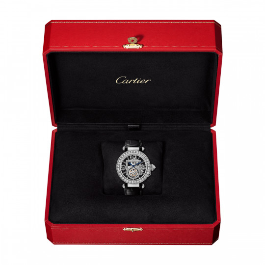 PASHA DE CARTIER WATCH HPI01435 41 MM, WHITE GOLD, DIAMONDS, 2 LEATHER STRAPS