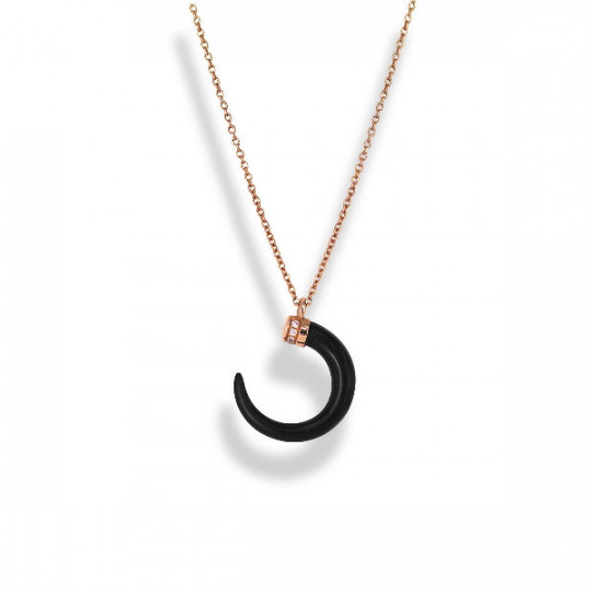 HALF MOON PENDANT WITH DIAMONDS