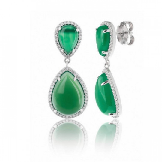 GREEN AGATE TEARDROP EARRINGS P0060/VER/LP