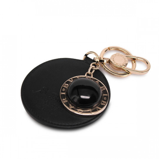 BVLGARI KEY RING WITH STONE AND LEATHER 34440