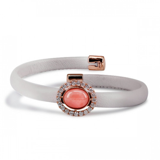 LEATHER BRACELET ROSE GOLD, CORAL AND DIAMONDS