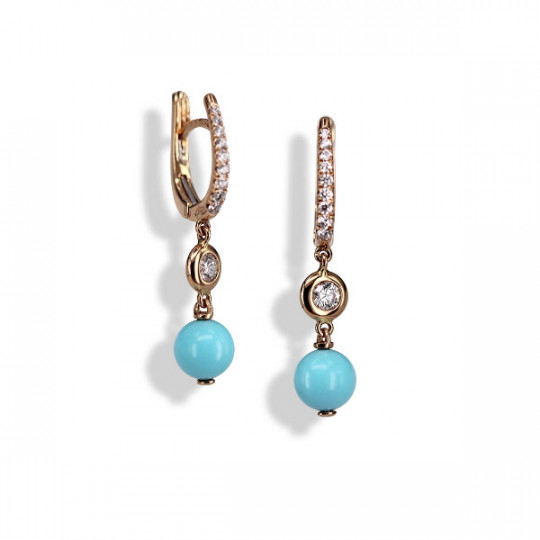 EARRINGS WITH TURQUOISE AND DIAMONDS