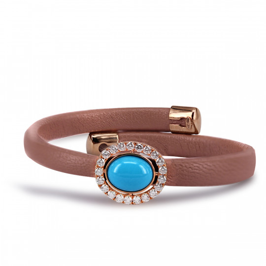 LEATHER BRACELET IN ROSE GOLD, TURQUOISE AND DIAMONDS