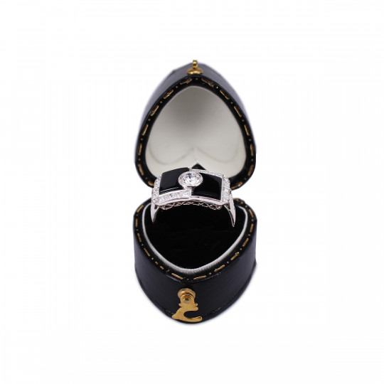 ONYX RING AND DIAMONDS