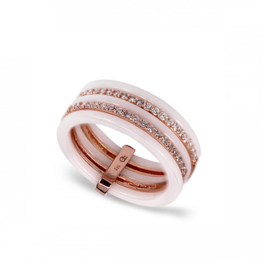 WHITE CERAMIC AND ZIRCONIA RING 5 RINGS