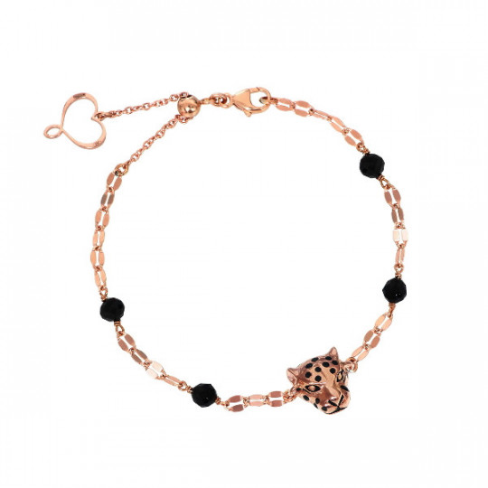 CHAIN BRACELET WITH ROSE GOLD-PLATED LEOPARD AND SPINEL STONES