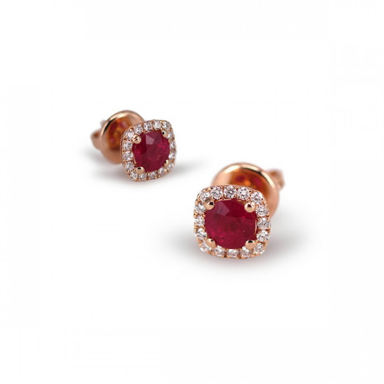 SQUARE EARRINGS WITH RUBY AND DIAMONDS