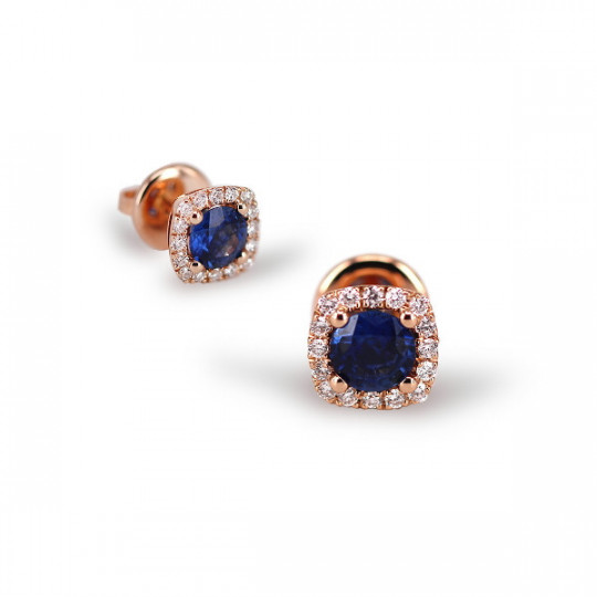 SQUARE EARRINGS WITH SAPPHIRE AND DIAMONDS