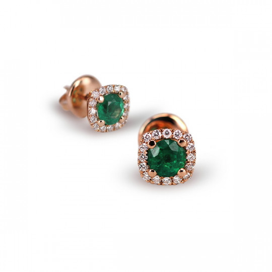 SQUARE EARRINGS WITH EMERALD AND DIAMONDS