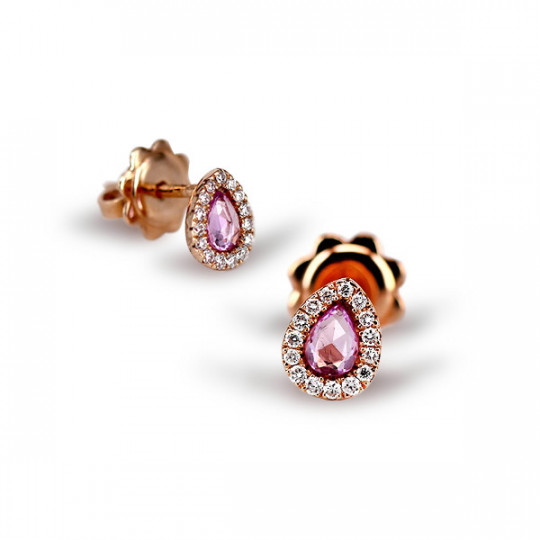 TEARDROP EARRINGS WITH PINK SAPPHIRE AND DIAMONDS