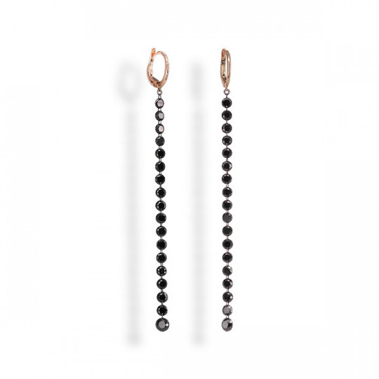 LONG BLACK DIAMOND EARRINGS