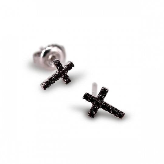 MINI CROSS DIAMOND EARRINGS BLACK