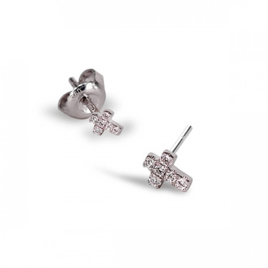 MINI CROSS DIAMOND EARRINGS