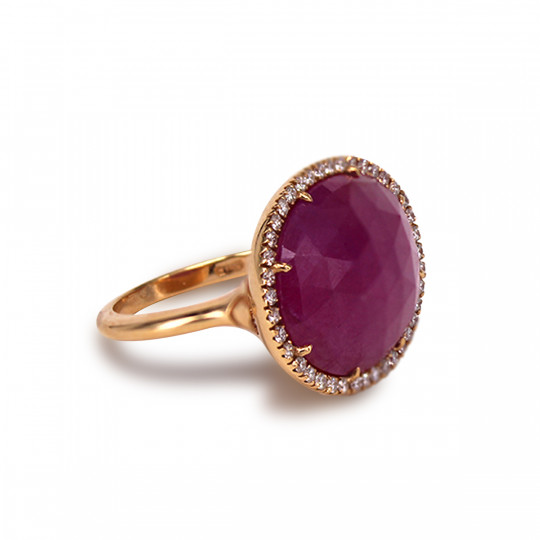PINK SAPPHIRE RING AND DIAMONDS