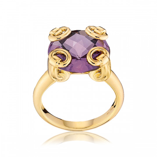 GUCCI HORSEBIT COCKTAIL RING WITH AMETHYST