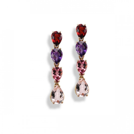 LONG EARRINGS FOUR MULTICOLOURED STONES