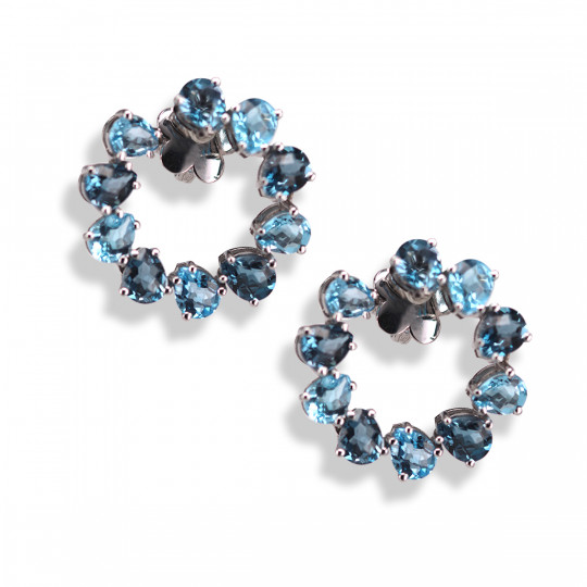 TOPAZ BLUE AND LONDON BLUE HOOP EARRINGS