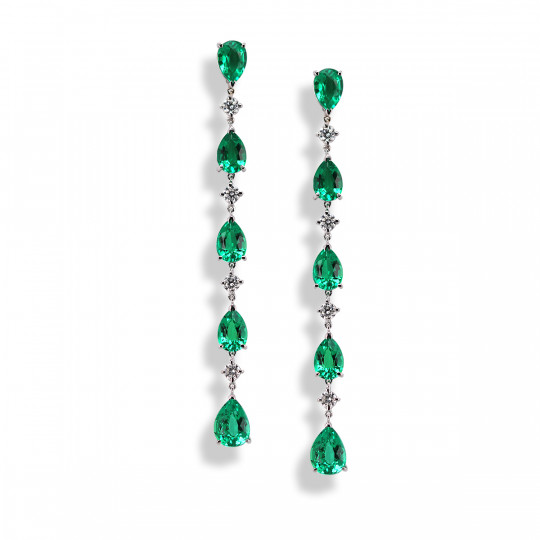 LONG EARRINGS WITH EMERALDS AND DIAMONDS