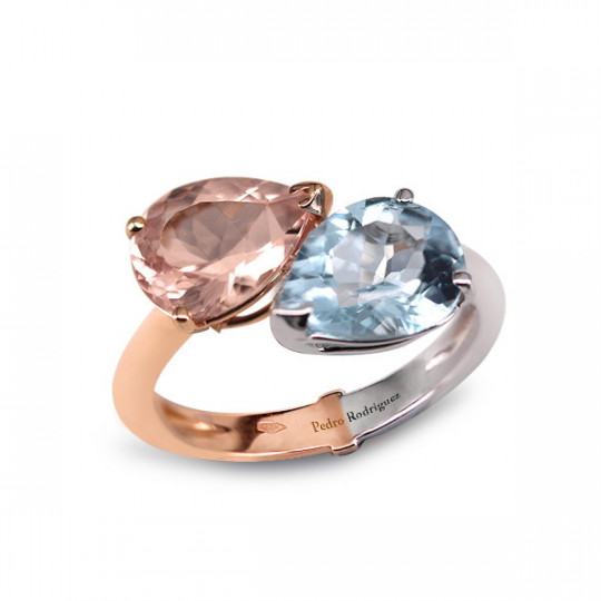 BICOLOR DOUBLE STONE RING