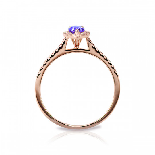 RING WITH BLUE CENTRAL PEAR-CUT SAPPHIRE, DIAMOND BAND AND DIAMOND ARM