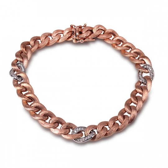 ROSE GOLDEN CHAIN BRACELET WITH DIAMONDS