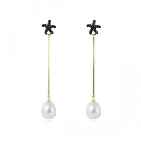 EARRINGS COIN BLACK IN GOLDEN SILVER 90585PD