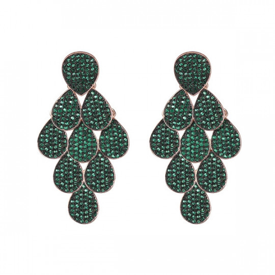 DREAM EARRINGS WITH ZIRCONS GREEN ORMS078