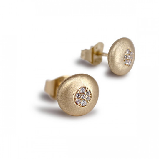 BUTTON EARRINGS WITH ZIRCONIA