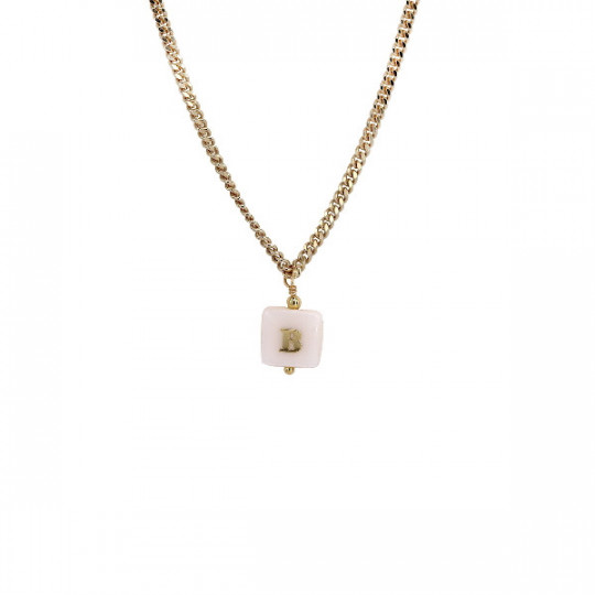GOLD-PLATED SILVER NECKLACE LETTER 'B'