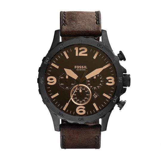 FOSSIL JR1487 NATE CHRONOGRAPH BROWN DIAL BROWN LEATHER ANALOG MEN´S WATCH