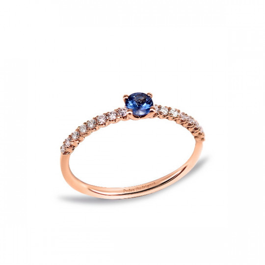 RING WITH SAPPHIRE AND DIAMONDS ROSE GOLD