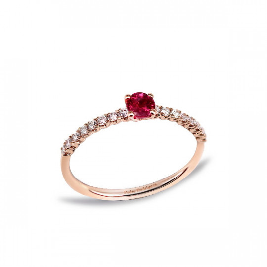 RING WITH RUBY AND DIAMONDS ROSE GOLD