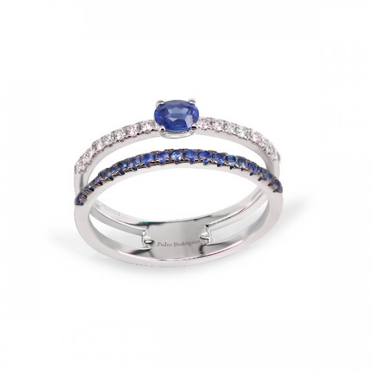 DOUBLE RING WITH SAPPHIRES AND DIAMONDS