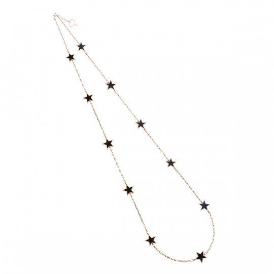 NECKLACE WITH ELEVEN BLACK ENAMELED STARS