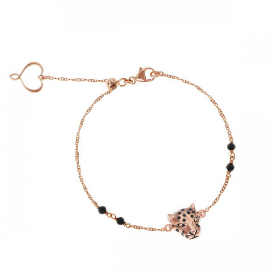 THIN CHAIN BRACELET WITH ROSE GOLD-PLATED LEOPARD AND SPINEL STONES