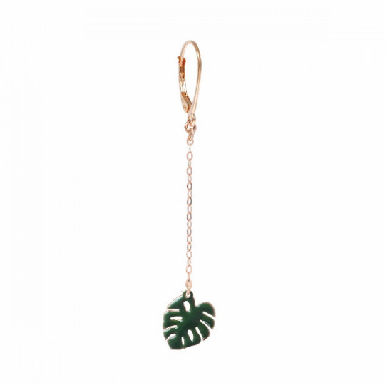 SINGLE HOOK CLASP EARRING WITH PENDANT GREEN MONSTERA LEAF