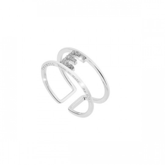 "JOLIE ""E"" RING IN SILVER AND DIAMOND DUST"